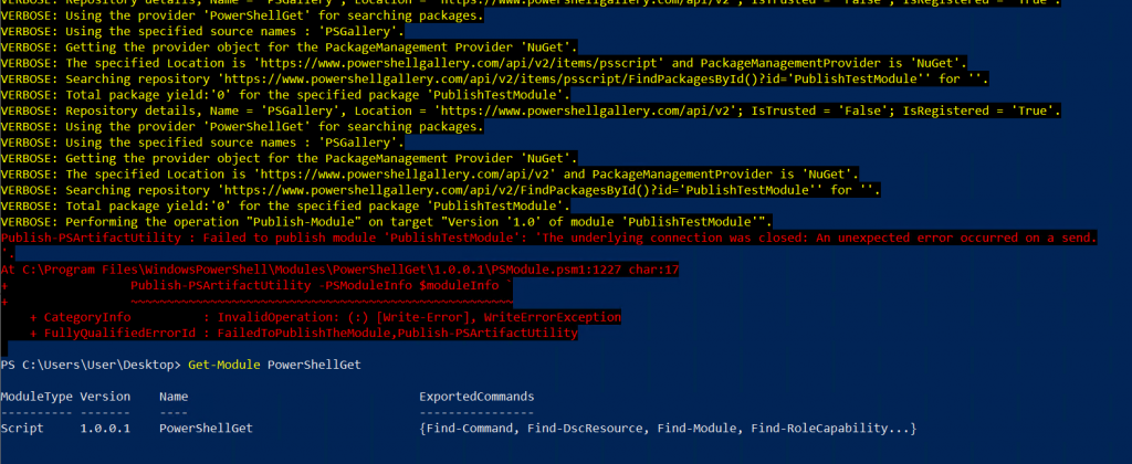 Error when publishing with old PowerShellget version